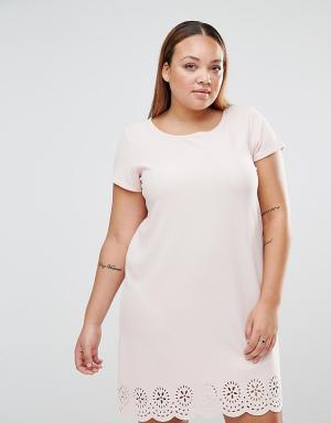 Praslin Цельнокройное платье с лазерной резной отделкой Plus. Цвет: розовый