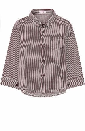 Хлопковая рубашка в контрастную полоску Il Gufo. Цвет: бордовый