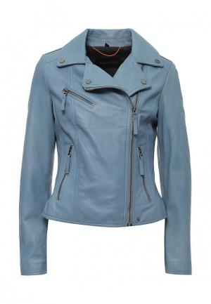 Куртка кожаная Oakwood. Цвет: голубой