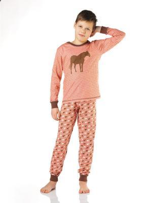 Пижама Lowry. Цвет: коричневый, коралловый, белый