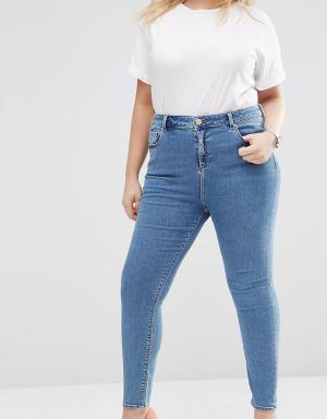ASOS Curve Зауженные выбеленные джинсы с завышенной талией. Цвет: синий