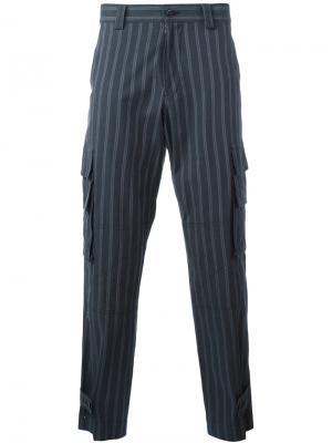 Полосатые брюки Undercover. Цвет: синий