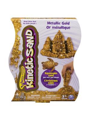 Песок для лепки металлик, Kinetic sand, 455гр, цвет золотой SPIN MASTER. Цвет: желтый