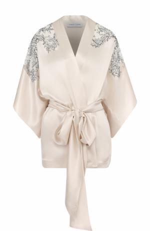 Шелковый халат с поясом и кружевными вставками Carine Gilson. Цвет: бежевый