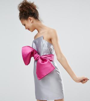 ASOS Petite Коктейльное платье с бантом в стиле 80-х. Цвет: серый