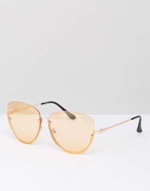 Jeepers Peepers Солнцезащитные очки в половинчатой оправе со стеклами персикового цвет. Цвет: оранжевый