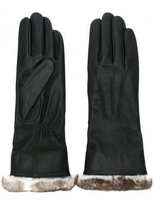 Перчатки с подкладкой из меха Agnelle. Цвет: чёрный
