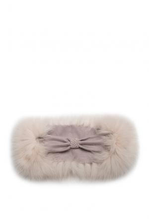 Повязка на голову с отделкой из меха песца SO-182380 Mooffi. Цвет: бежевый
