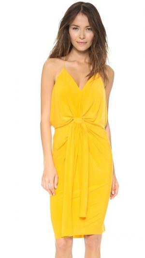 Платье до колен с узлом Tbags Los Angeles. Цвет: желтый