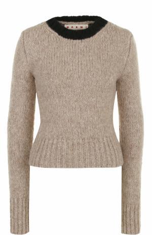 Приталенный шерстяной пуловер Marni. Цвет: бежевый
