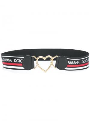 Stripe logo belt with heart buckle Dolce & Gabbana. Цвет: многоцветный