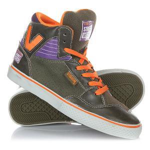 Кеды кроссовки высокие женские  Z 16000 Olive/Purp/Orange Vision. Цвет: оранжевый,зеленый,фиолетовый