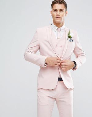 ASOS Розовый приталенный пиджак на подкладке с принтом Wedding. Цвет: розовый
