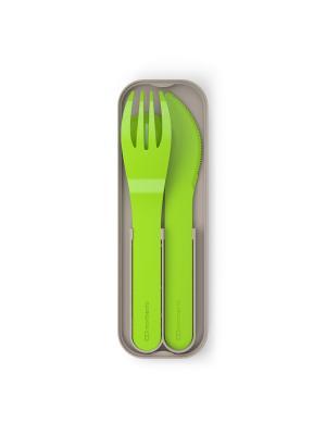 Набор из 3 столовых приборов в футляре MB Pocket color зеленый Monbento. Цвет: зеленый