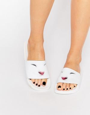 THEWHITEBRAND Шлепанцы WhiteBrand Cute Kitty. Цвет: белый