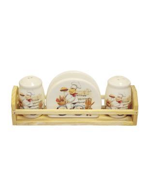 Набор для специй Веселый повар в п/у Elff Ceramics. Цвет: белый, желтый