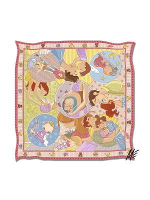 Платок с авторским арт-принтом Беби бум-пинк из твилла Оланж Ассорти. Цвет: голубой, бледно-розовый, светло-желтый