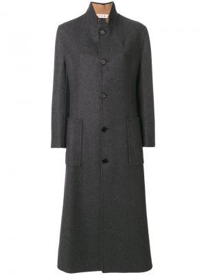 Длинное однобортное пальто Marni. Цвет: серый