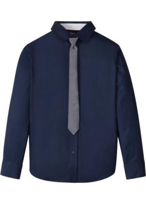 Рубашка с галстуком (2 изд.) (темно-синий) bonprix. Цвет: темно-синий