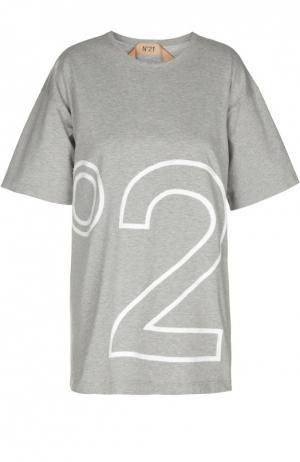 Футболка свободного кроя с разрезами и принтом No. 21. Цвет: серый