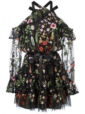 Прозрачное платье с цветочной вышивкой Alexis. Цвет: чёрный