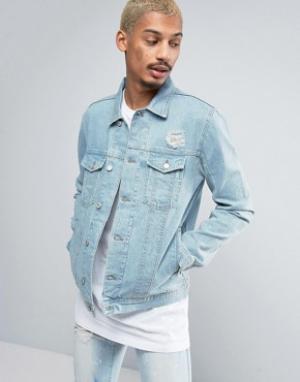 Antioch Светлая джинсовая куртка с потертостями. Цвет: синий
