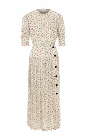 Приталенное шелковое платье-миди с принтом Alessandra Rich. Цвет: разноцветный