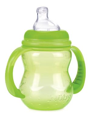 Бутылочка с ручками NUBY. Цвет: зеленый
