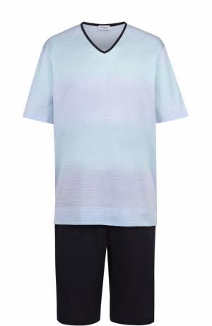Хлопковая пижама с шортами Zimmerli. Цвет: светло-голубой