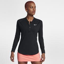 Женская теннисная футболка с молнией до середины груди Court Pure Nike. Цвет: черный