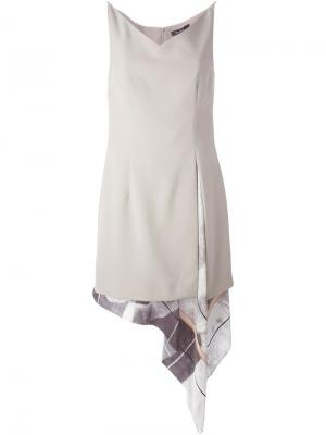 Многослойное платье с полосатым принтом Marios Schwab. Цвет: телесный
