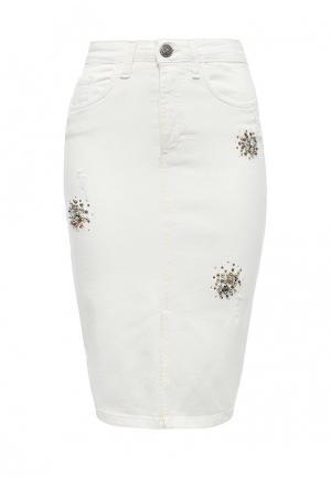 Юбка джинсовая Rinascimento. Цвет: белый