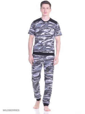 Костюм мужской(футболка, брюки) MARSOFINA. Цвет: серый, черный