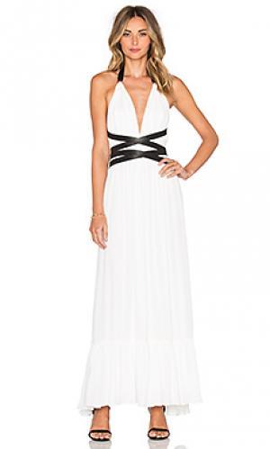 Макси платье с v-образным вырезом и открытой спиной T-Bags LosAngeles. Цвет: белый