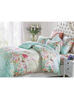 Комплект постельного белья евро 70х70 Jardin. Цвет: бирюзовый, голубой, бежевый
