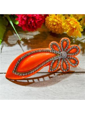 Заколка зажим цветок Bizon. Цвет: оранжевый