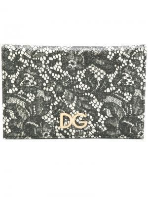 Кошелек с кружевным узором Dolce & Gabbana. Цвет: чёрный