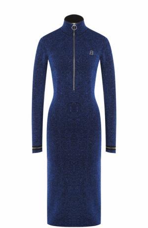 Платье-миди с металлизированной отделкой и воротником-стойкой Bally. Цвет: синий