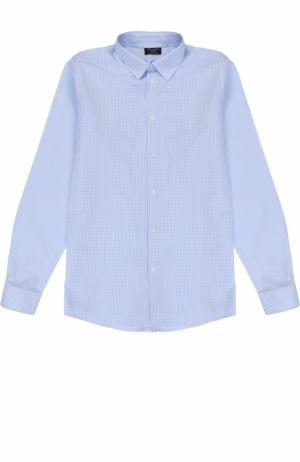 Хлопковая рубашка в клетку Dal Lago. Цвет: светло-голубой