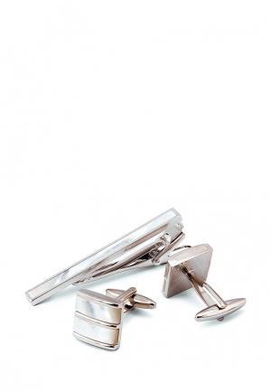 Комплект зажим для галстука и запонки Greg. Цвет: серебряный