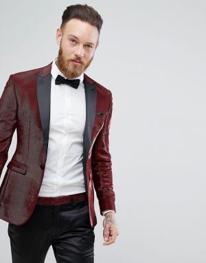 ASOS Красный супероблегающий пиджак-смокинг с блестками. Цвет: красный
