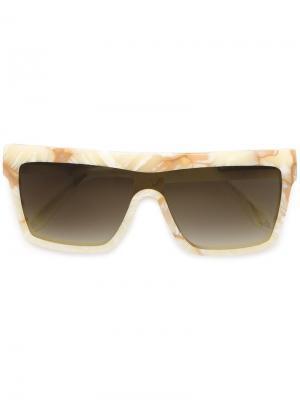 Солнцезащитные очки в квадратной оправе Victoria Beckham. Цвет: телесный