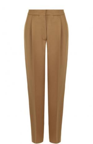 Шерстяные брюки прямого кроя с защипами MRZ. Цвет: коричневый