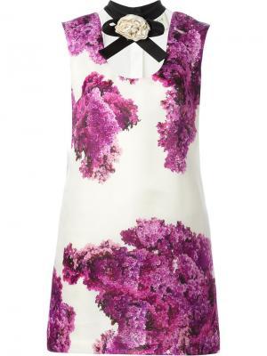 Платье шифт с цветочным принтом Daniele Carlotta. Цвет: телесный