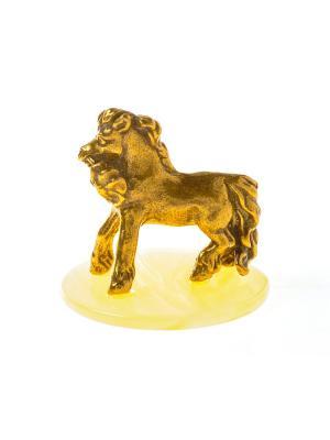 Фигура Лошадь Пони с цветком Aztek. Цвет: желтый, коричневый, светло-оранжевый