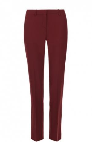 Укороченные брюки прямого кроя со стрелками Theory. Цвет: бордовый