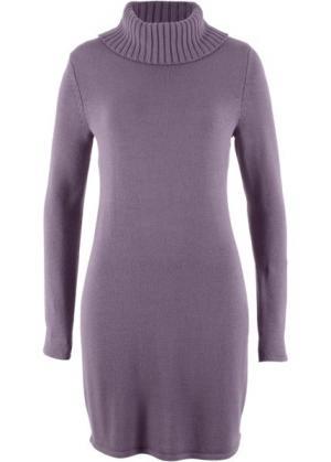 Вязаное платье с длинным рукавом и высоким воротником (лиловый матовый) bonprix. Цвет: лиловый матовый