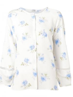 Шелковая блузка с цветочным принтом Vilshenko. Цвет: белый