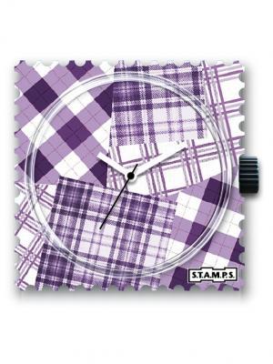 Часы Square Mix S.T.A.M.P.S.. Цвет: сиреневый, белый