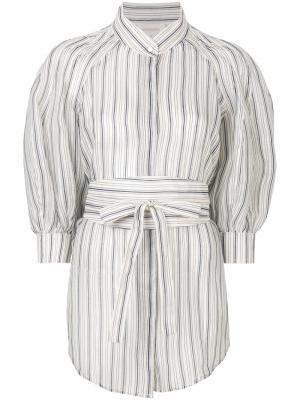 Полосатая блузка с буффами Zimmermann. Цвет: белый
